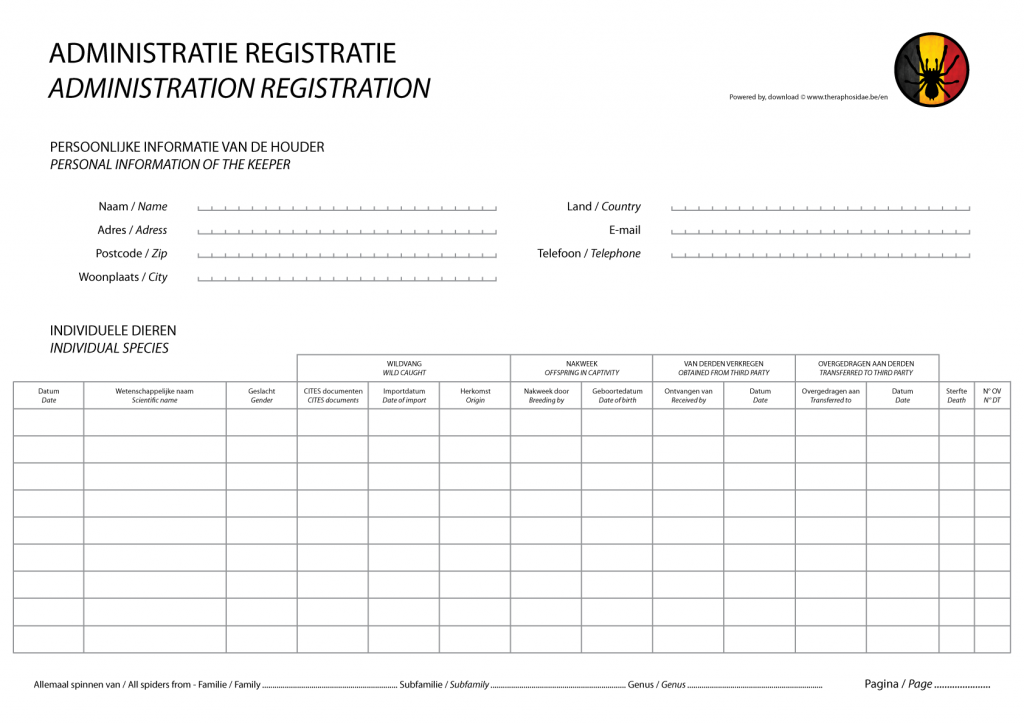 Administration registration for individual species